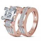 2.30 Ct Princess Diamond 14K Rose Gold Over Wedding Bridal Engagement Ring Set