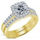 14K Yellow Gold Over Cushion Cut VVS1 Diamond Engagement Bridal Set Wedding Ring