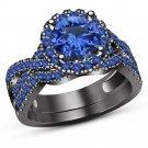 Black Gold Finish 925 Silver Round Cut Blue Sapphire Engagement Bridal Ring Set