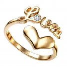 I Love You Shape Yellow Gold Finish 925 Sterling Silver Adjustable Toe Ring