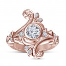 Rose Gold Plated 925 Sterling Silver Simulated Diamond Engagement Wedding Ring Size 7