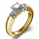 Yellow Gold Finish 925 Silver 3Stone Round Cut Simulated Diamond Engagement Ring Size 7