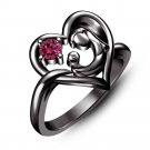 Heart Shape Black Gold Finish 925 Silver Round Cut Red Garnet Engagement Ring Size 7