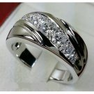 White Gold Plated Solid 925 Sterling Silver Simulated Diamond Engagement Band Size 7