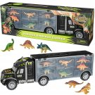 "16"" Tractor Trailer Dinosaur Carrier with 6 Mini Plastic Dinosaurs"