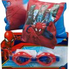 Marvel Spiderman Boys Swimming Goggles And Armbands Swim Pool Set