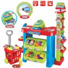 deAO SPM-2 Kids Supermarket Stall Toy Shopping Trolley and Over 30 Play Food Accessories Included