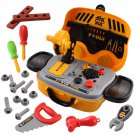 deAO 2-in-1 Tool Work Bench Play Set and Portable Mini Carry Case with Variety of Accessories