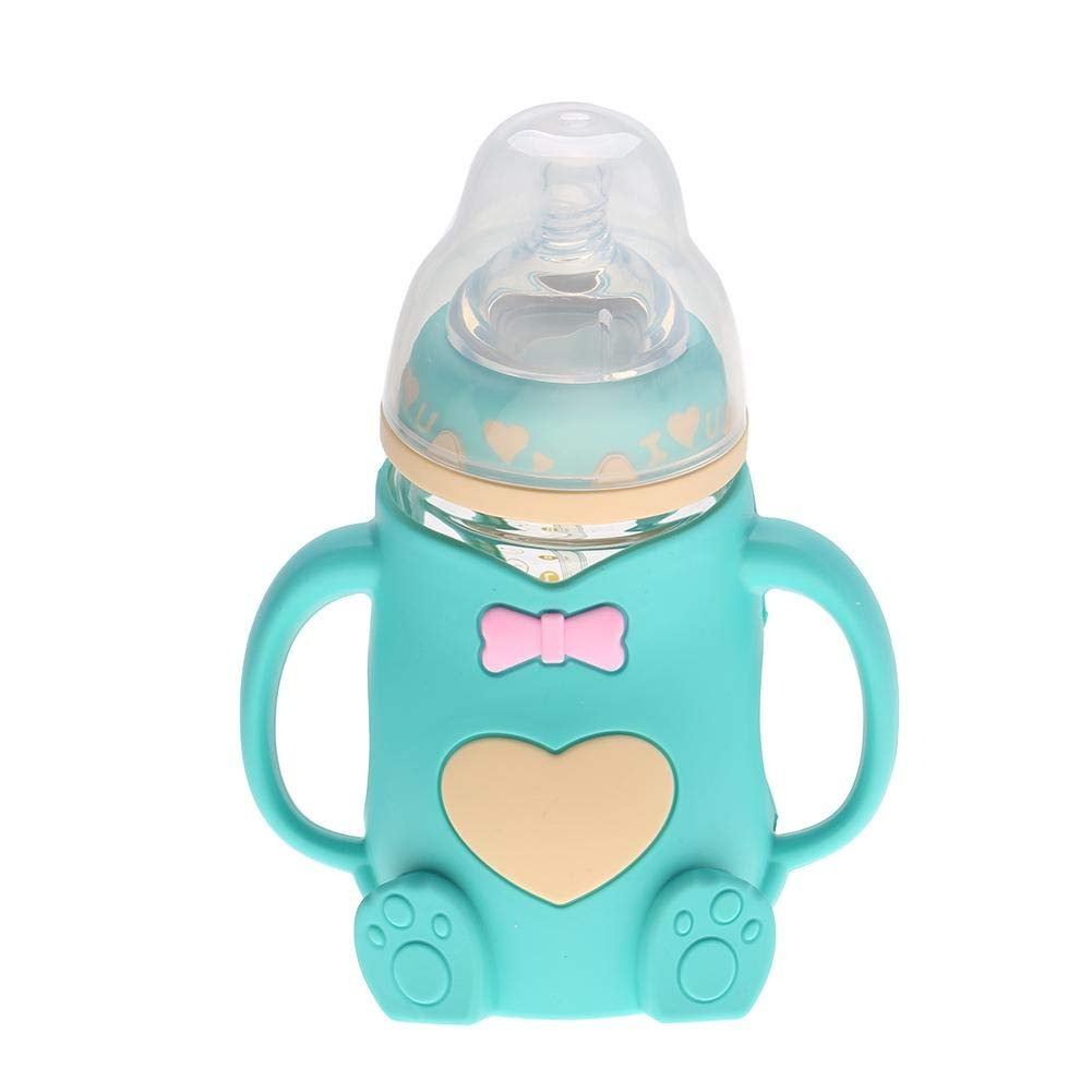 TOPINCN Baby Infant Nursing Bottle Portable Silicone Nipple Drinking Water