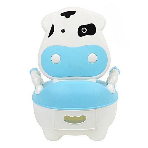 Children's toilet Seat Baby Toddler Trainer Potty Toilet Seat (Cow blue)