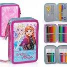 Disney Frozen 50534 Triple Tier Filled Pencil Case, Contents 44 Pieces, Anna Elsa