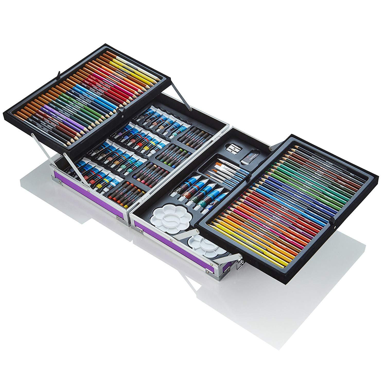 125 Piece Art Studio With Aluminium Case - Purple