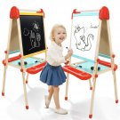 Wooden Art Easel for Kids, Childrens Easel with Painting Chalkboard,