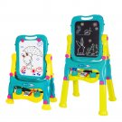 Kids Double Sided Height Adjustable Standing Art Easel - Dry-Erase Board & Chalkboard Drawing