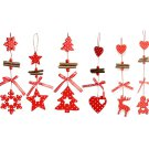 6pcs Wooden Ornaments Pendant Christmas Tree Hanging Decoration for Xmas