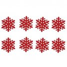 8pcs Christmas Drink Coasters Red Snowflake Cup Mats