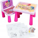 Shimmer And Shine Sit And Colour Art Desk Activity Kids Plastic Table Chair Set