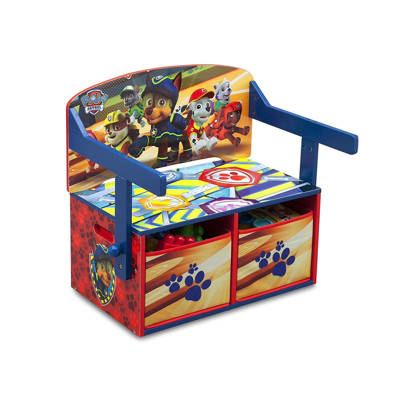 Delta Children Paw Patrol 3 in 1 Storage Bench Desk, Wood, red, 62.23x43.18x57.15 cm