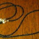 Black Beaded Eyeglass Chain Leash Holder 24 in Gold End
