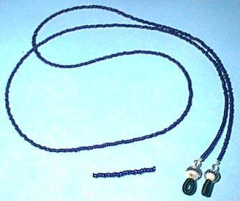 Cobalt Blue Glass Beaded Eyeglass Chain Leash Holder 24 in