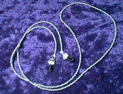 Silver Glass Beaded Eyeglass Chain Leash Holder 24 in
