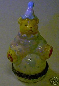 Teddy Bear Clown Trinket Box in Original Box