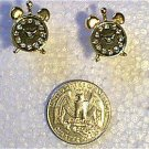 Rhinestone Alarm Clock Earrings Black Face in Goldtone
