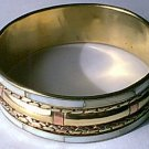 Copper Brass Inlaid Mother of Pearl Bangle Bracelet NEW