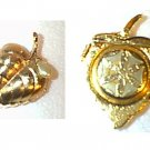 Avon Gold Tone Heart Locket Perfume Pin Brooch