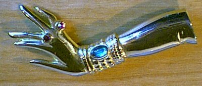 Hand & Arm Pin Goldtone w Rhinestones Beautiful!