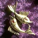 Marcasite Red Eye Flying Fish Pin
