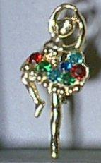 """Multicolor Rhinestone Ballerina Pin 2 1/2"""""""