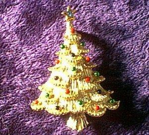 "Multicolor Rhinestone Christmas Tree Pin 2"""