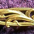 Old Golden Metal Ornate Flower Pin
