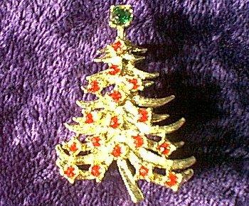 Red Rhinestone Christmas Tree Pin