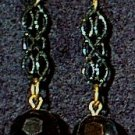 Black Bead & Chain Panel Wire Earrings
