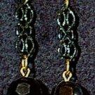 Black Bead & Chain Panel Wire Earrings