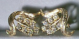 Crystal Rhinestones on Gold Metal Earrings Vintage