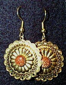 Goldstone in Golden Conchos Wire Earrings