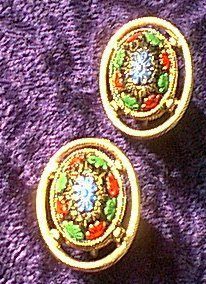 Multicolor Floral in Gold Color Frame Earrings
