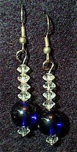 Swarovski Crystal Diamonds & Cobalt Glass Beaded Wire Earrings
