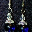 Crystal & Cobalt Glass Beaded Wire Earrings