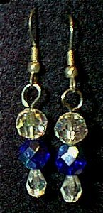 Swarovski Crystal & Cobalt Czeck Glass Beaded Wire Earrings