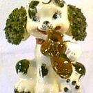 Vintage 50s Black Spagetti Ears White Poodle Dog