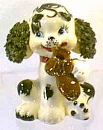 Vintage 50s Black Spagetti Ears White Poodle Dog