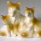 3 Ceramic Dogs Mom 2 Puppy Puppies Collie Sheltie Japan