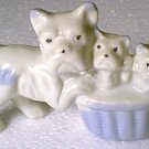 3 Ceramic Dogs Mom Puppy Puppies Basket Occupied Japan