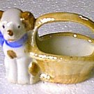 Old Ceramic Puppy with Basket Made in Japan Miniature