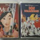 Lot of 2 Walt Disney VHS Movies Mulan and 101 Dalmations