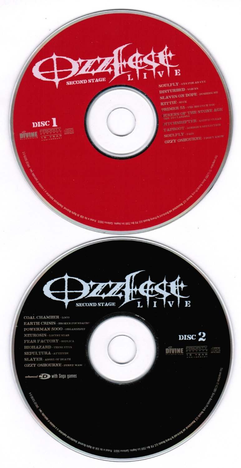 Ozzfest Second Stage Live CD 2 Discs 2001 Priority Records